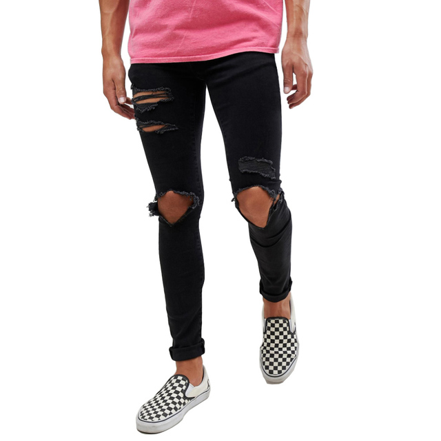 גברים של Ripped חור במצוקה נהרס סקיני למתוח אופנה מזדמן ג 'ינס ג' ינס