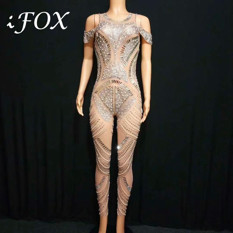 Strapless High Ranking Crystals Stones Women Jumpsuit Full Pearls Sparkling Rhinestones Bodysuit Nightclub Stage Wear Costume