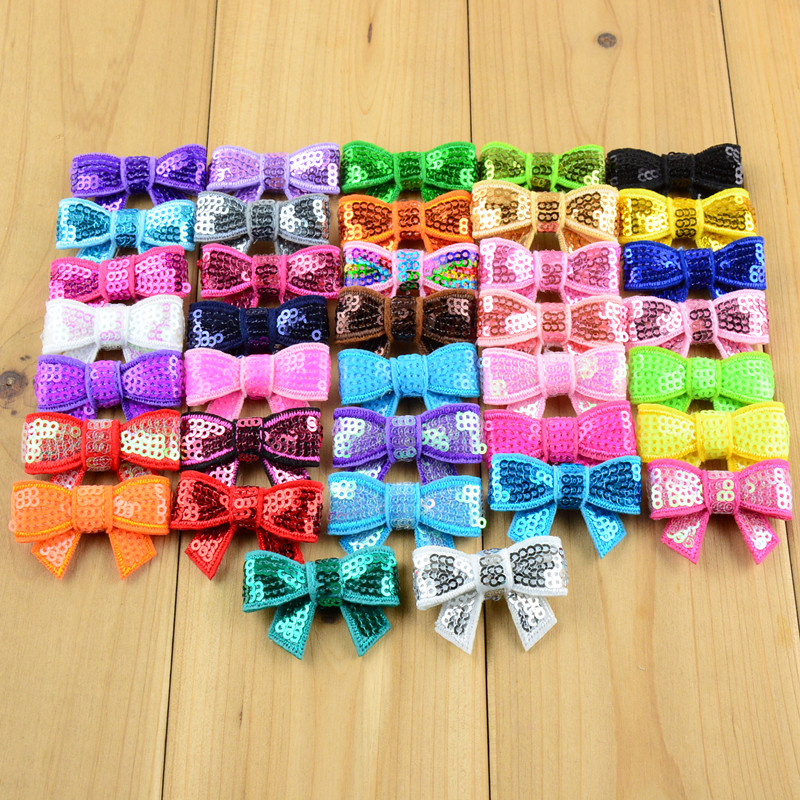 Wholesale 500pcs lot 1 6 Mini Sequin Bow Appliques Twinkling Hair Bows Without Hair Clips DIY