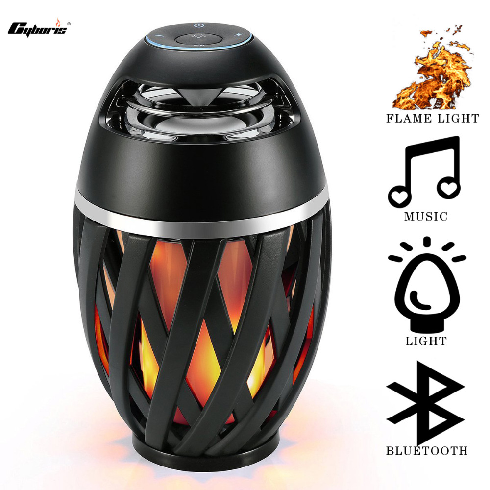 CYBORIS 2018 Latest  Wireless Colourful LED Flame Atmosphere Bluetooth Speakers with HD Audio and Enhanced Bass