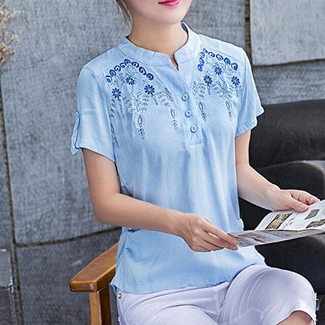 6bd7d70cd9 Elegante Charmoso Bordado Fino Feminino Curto-manga Blusa Camisa de Linho E  Tecido de Algodão