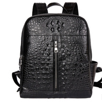 Alligator Men Backpack First Layer Cow Leather Causal Large Capacity Fashion Travel Bags Double Zipper Genuine Leather Backpack