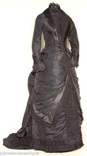 Victorian Mourning Gown Front ViewVictorian dress satin dressla dies blouse long theater dresses ruffle
