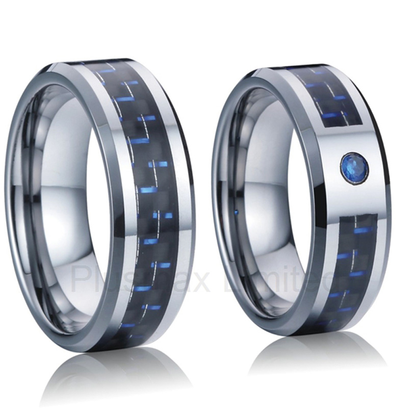 Professional and reliable online titanium jewelry company custom blue carbon fiber 8mm wedding band lover rings