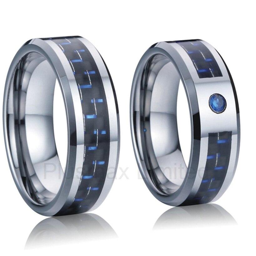 Professionnel et fiable en ligne titane société de bijoux personnalisé bleu fibre de carbone 8mm anneaux d'amant de bande de mariage