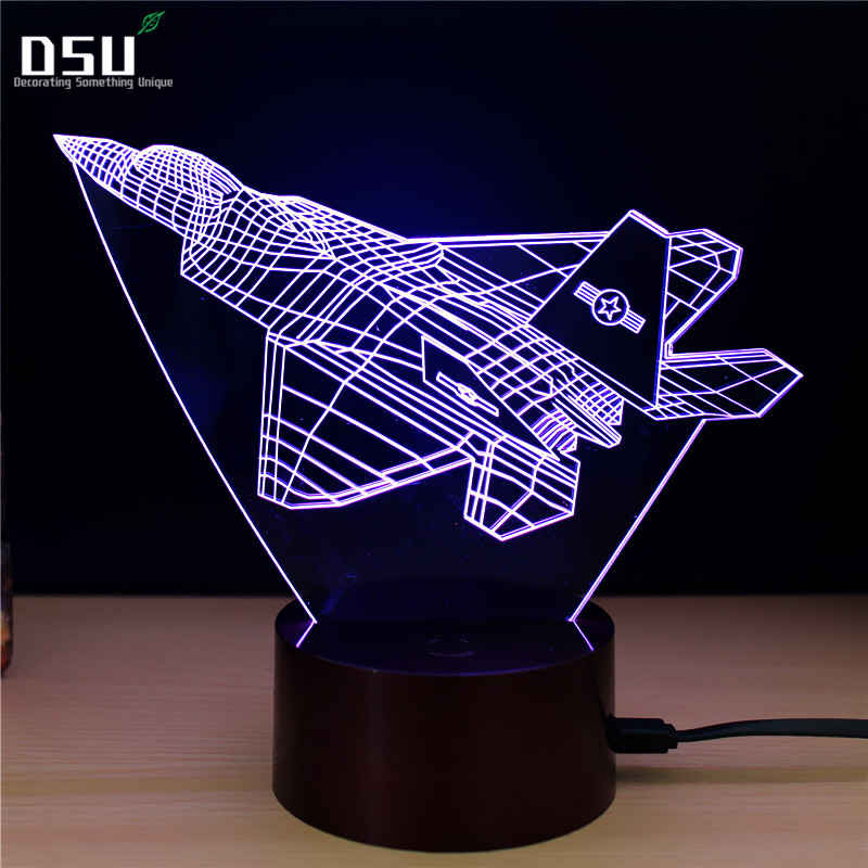 Fighter Night Light 3D LED Remote Control Touch USB Desk Lamp for Kids Christmas Gift