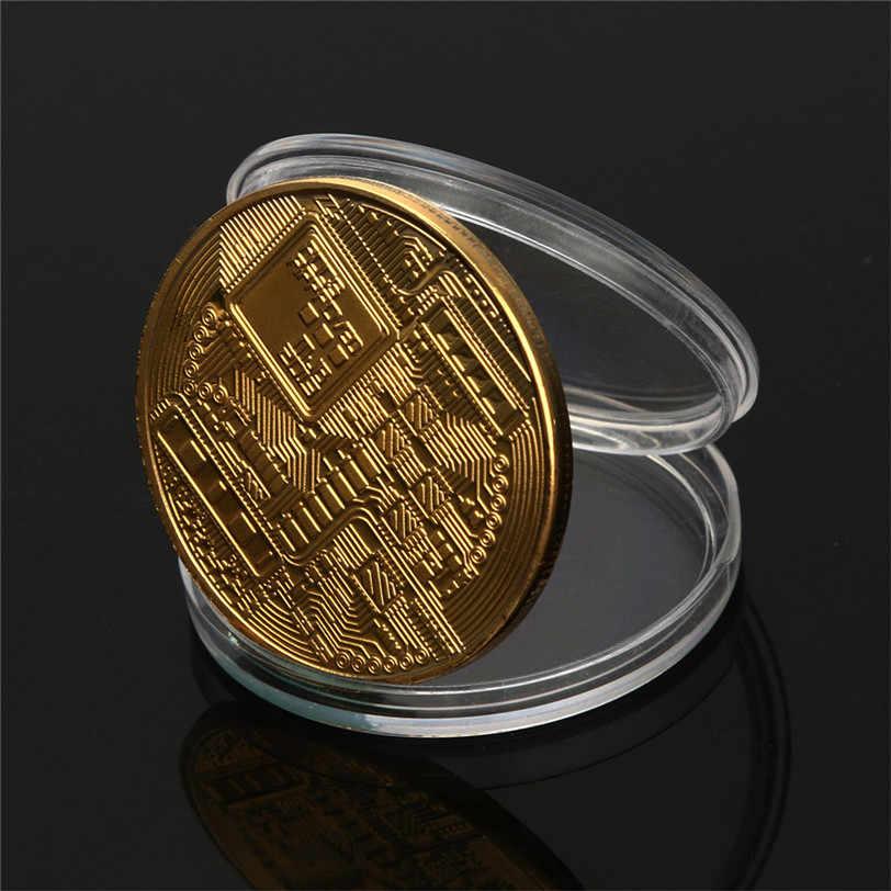 1PC Gold /& 1PC Free Silver Bitcoin Commemorative Coin Collectible Gift BTC Coin