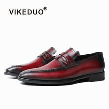 VIKEDUO Casual Burgundy Loafers Shoes For Men Genuine Leather Handmade Patina Mens Wedding Office Driving Footwear Zapato