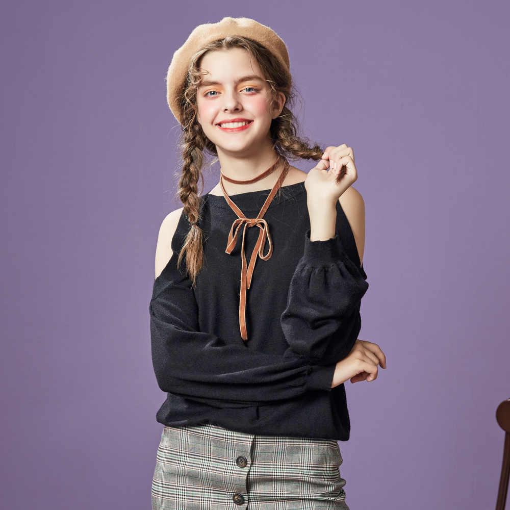Metersbonwe 2019 코튼 니트 스웨터 여성 풀오버 터틀넥 가을 겨울 기본 여성 스웨터 한국식 슬림 피트