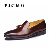 New Fashion High Quality Comfortable Tassel Loafers Genuine Leather Loafers Pointed Toe Flats Oxfords Men Shoes