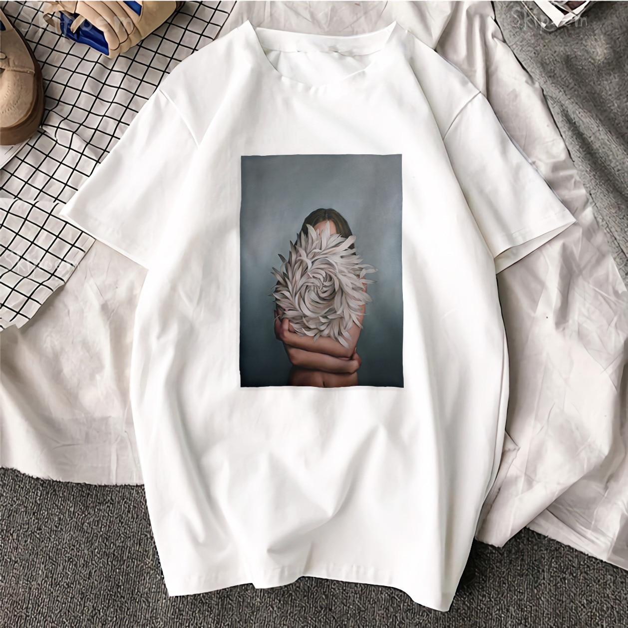Nouveau coton Harajuku esthétique t-shirt Sexy fleurs plume imprimé à manches courtes hauts et t-shirts mode décontracté Couple t-shirt 2