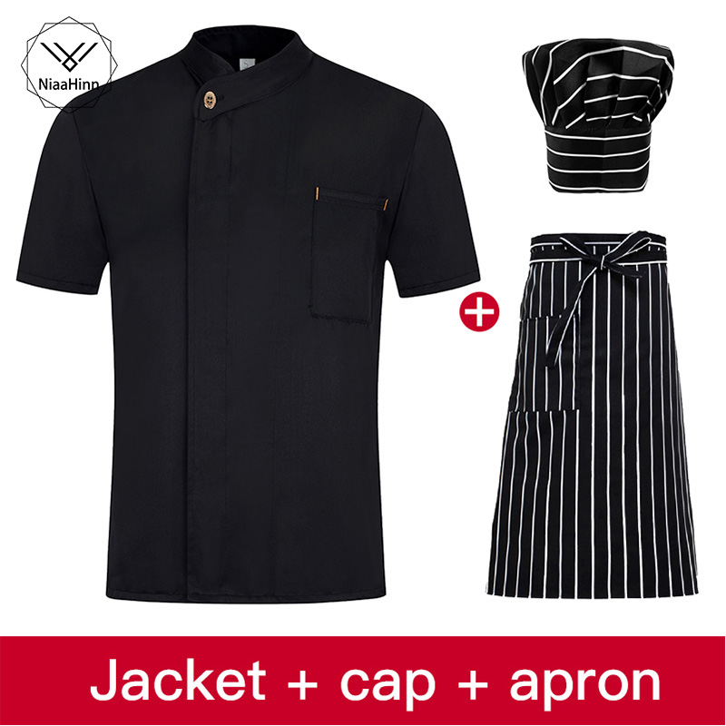 Chef Jacket Cook Coat Restaurant Kitchen Chef Uniform Short Sleeve Chef Clothes Hotel Bakery Pastry Cafe Overalls High Quality
