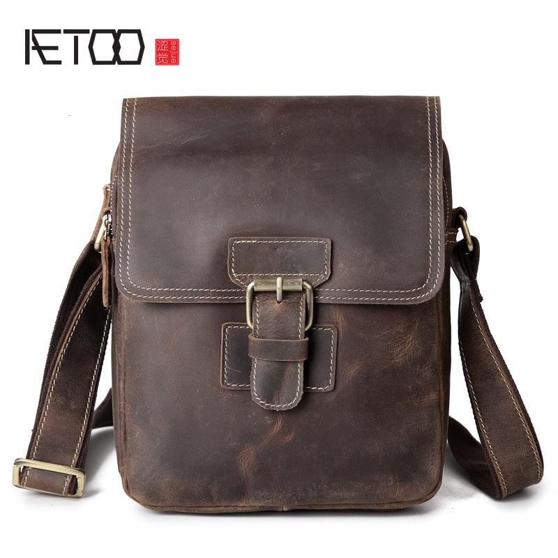 AETOO Briefcase Messenger Bag Men's Leather Shoulder Bag Briefcase Messenger Bag Men's Handbag цены