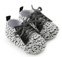 2018 новорожденных малышей обувь 0-18 месяцев Детские для мальчиков и девочек повседневные спортивные туфли твердой подошве prewalker кроссовки на шнуровке