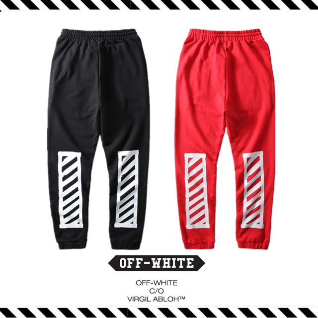 6e486974877564 Best Version 2016 Fall Winter OFF White stripe Box pants hip hop men  Drawstring full length