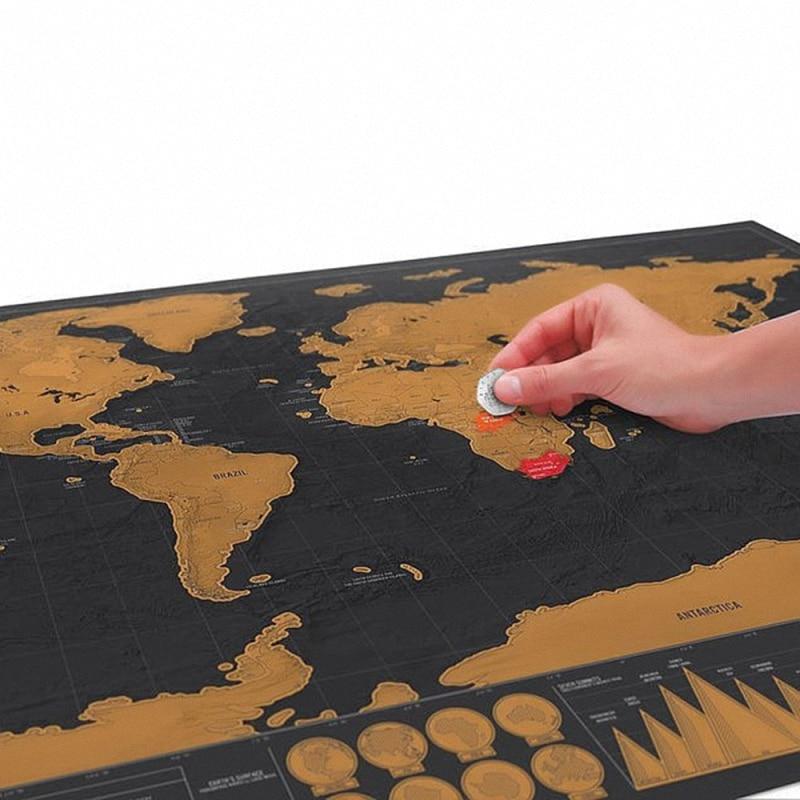 Alta calidad 100% 1 piezas Mapa de lujo Mapa de viaje mundial - Decoración del hogar