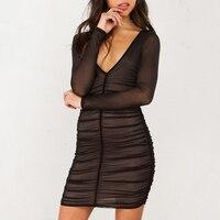 Strona Suknie Głęboki Dekolt Sexy Black Mesh Sukienka Kobiety Plisowane Draw String Bodycon Sukienka Szata Vestidos H175-55E