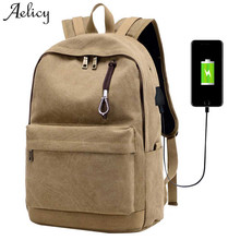 Aelicy Men Male Canvas Backpack College Student School Backpack Bag