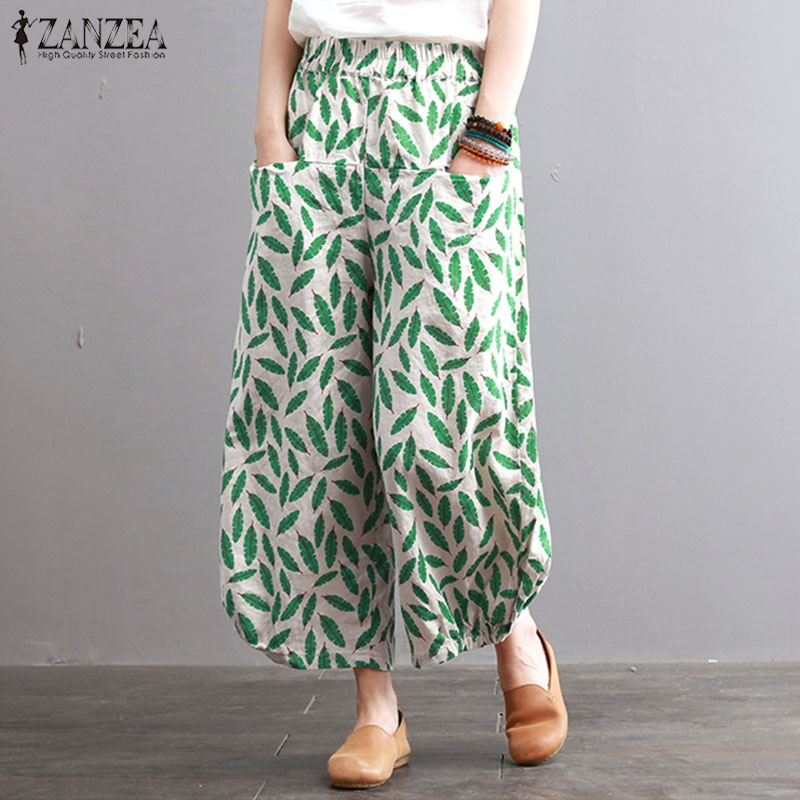 ZANZEA Women   Wide     Leg     Pants   Elastic Waist Floral Printed Lantern   Pants   Pockets Loose Casual Autumn Trousers Cotton Pantalon