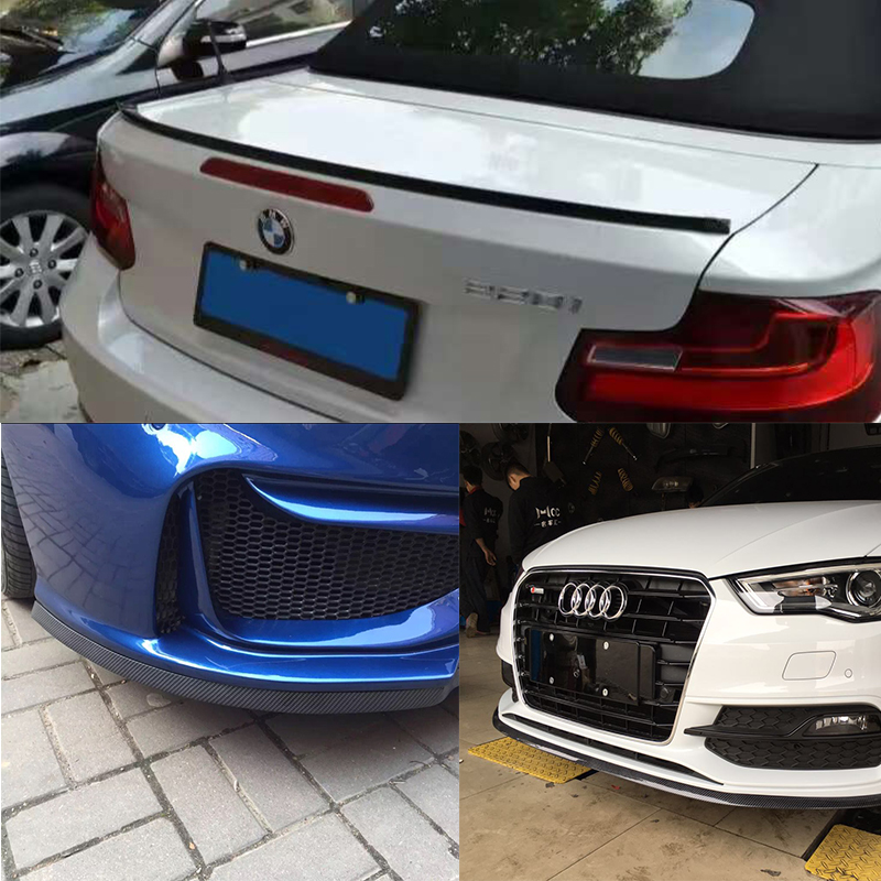 Rubber Carbon Fiber 2.5 Meters Body Kit With 1.5 Meters Rear lip Spoiler Wing for BMW M3 M4 Z4 E90 E92 E46 F30 F10 F80 F82