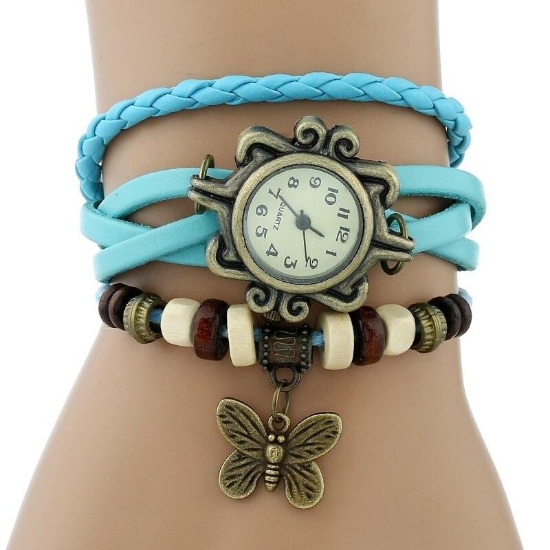 Gnova платины Кожаный Браслет Бабочка Леди Винтаж наручные часы мятно-зеленый розовый фиолетовый Этническая мода A887 - Цвет: Небесно-голубой