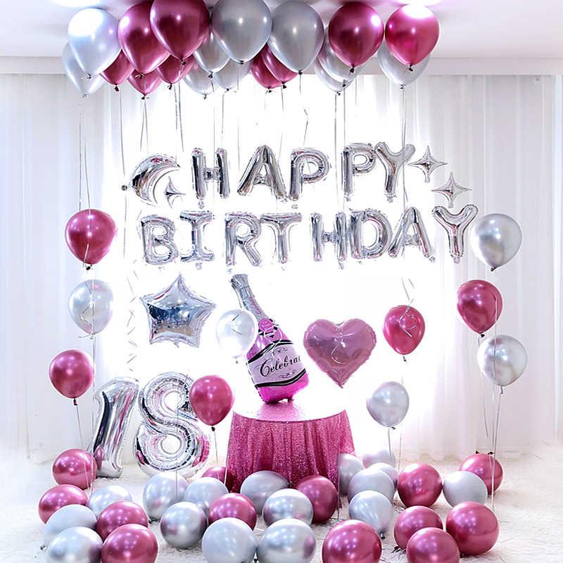 Birthday Party Decorations Adult Happy Ballon Garland Gold Black Pink Blue Metal Latex Set