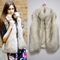 Desigual S-XXXL Large Size Women Long Waistcoat Fake Fur Silver Fox Thick Winter Vest Sleevelss Stand Collar Faux Fur Vest J51