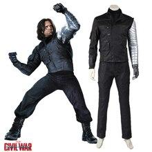 Marvel's Captain America Civil War Cosplay Costume Winter Soldier Buchanan Suit Adult Men Halloween Costume Superhero Outfit