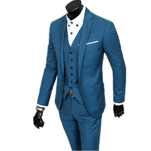 Men's fashion Really a phot wedding suit the groom get married officially set slim fit men three-piece suit (jacket, vest+pants)