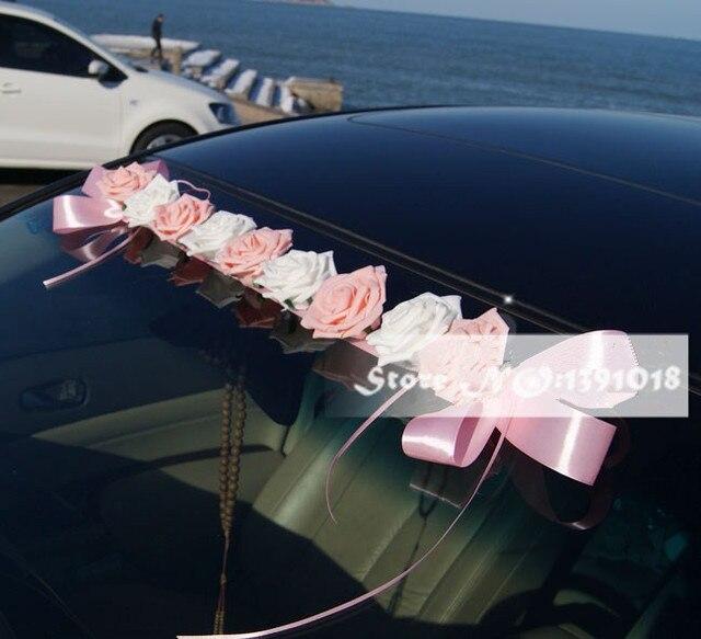 acheter 2017 nouveau pe rose fleurs voiture decora toit de la voiture guirlande. Black Bedroom Furniture Sets. Home Design Ideas