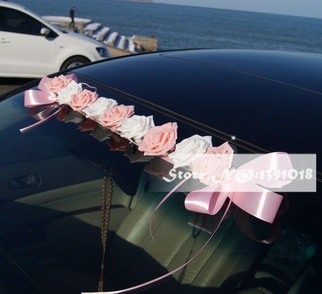 2019 NOVO PE Rose flores decoração do carro do carro decoração do carro do casamento guirlanda telhado 4 cores