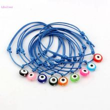 9pcs Mixed color Acrylic Evil Eye  Beads Charms Wax rope Adjustable Bracelets S113L68