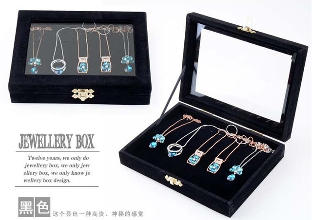 High Quality Ice Velvet Jewelry Display Travel Tray Pendant Necklace Hanging Storage & Container Boxes Case Organizer with Cover
