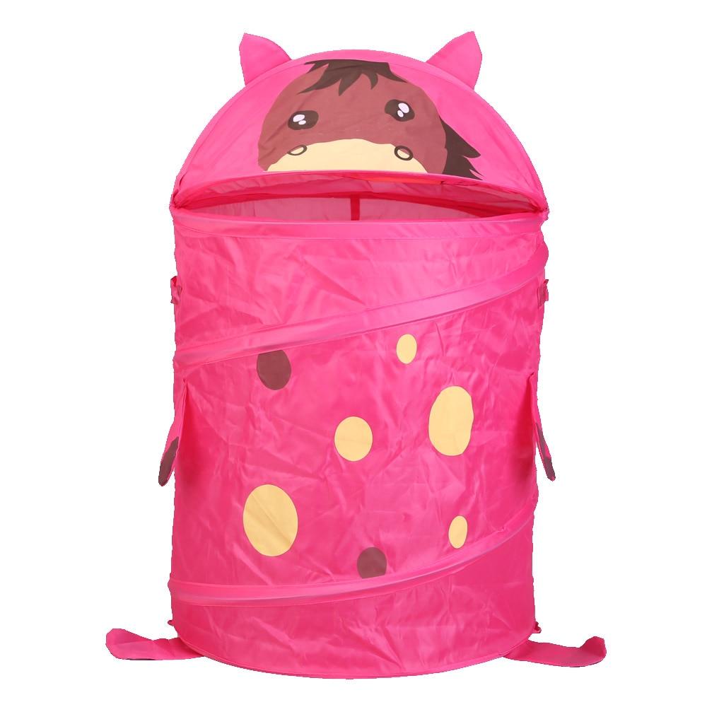 Lovely Bear Tiger Animal Storage Bucket Folding Cylinder Laundry Basket Toy Box 9 Style Funny Toy Box Organizer Storage Bag