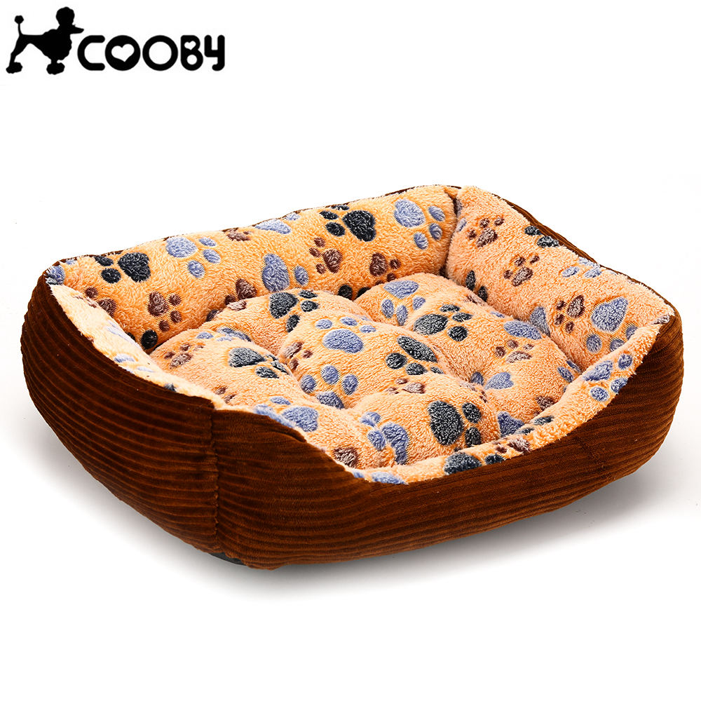 Dog Beds Cat Sofa Mat Washable House for Cats Basket Dogs Bed Supplies Bench Paw Print P ...