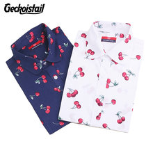 Geckoistail Floral Women Blouses Cherry Print Blouse Long Sleeve Shirt Women Cotton Camisas Femininas Blusa Feminina Ladies Tops