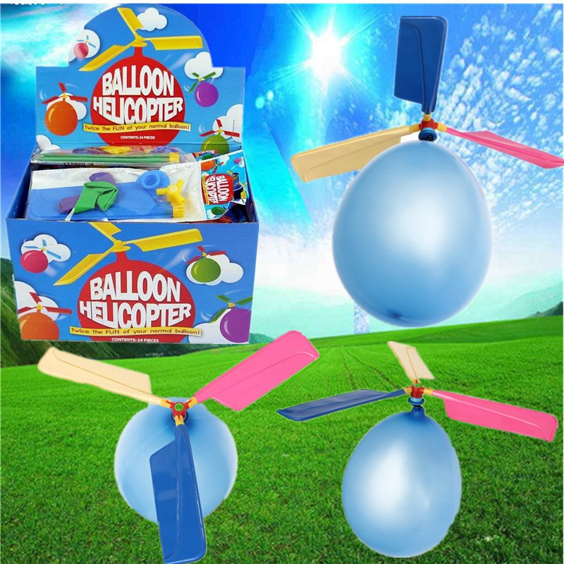 Hot Sale 20pcs/lot Colorful Traditional Classic Balloon Helicopter Portable Outdoor Playing Flying Toy Child Party Supplies