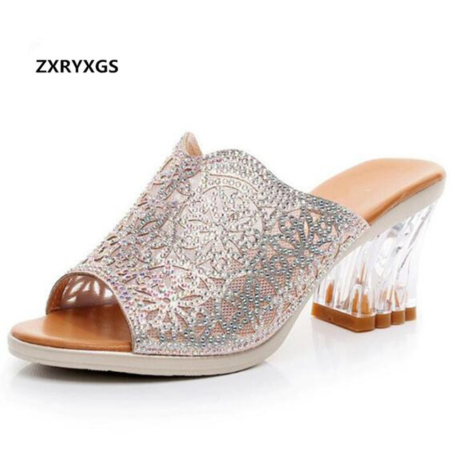 1200289b4d69 2018 New Summer Rhinestone Shoes Woman Sandals Slippers Fish Head Thick  with High Heels Crystal Slippers Women Fashion Shoes