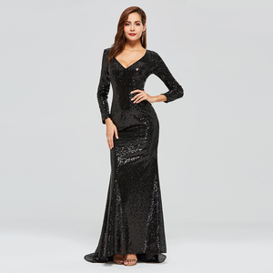 Image 2 - Dressv black evening dress v neck long sleeves sequins mermaid floor length wedding party formal dress trumpet evening dresses