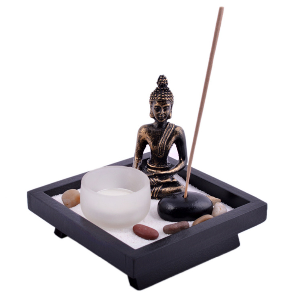 Zen garden garten sand buddha rocks tealight incense holder feng shui t1020 in figurines - Japanische dekoration ...
