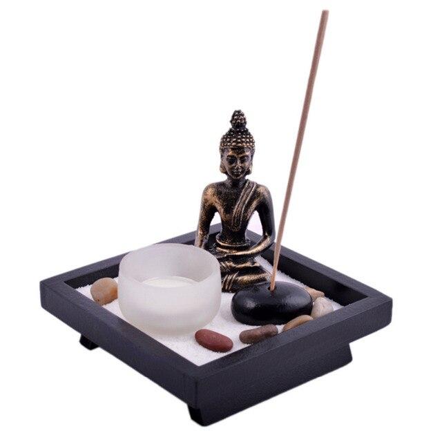 Zen Garden Garten Sand Buddha Rocks Tealight Incense Holder Feng Shui T1020