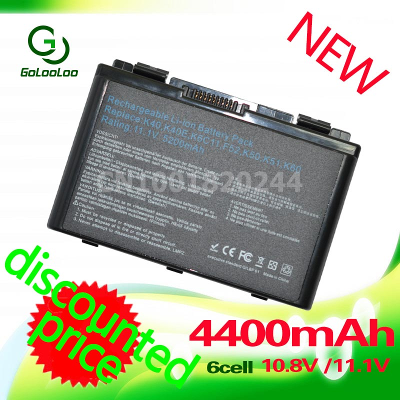 Golooloo 4400mah Battery For Asus A32-f82 A32-F52 F52 A32 F82 k40in K50 K50iJ K51 k50AB k50ID k50iJ N82 K40 K42J K42 k50c K51 apower link d 012b usb 2 0 7 port hub w switch us plug power adapter black