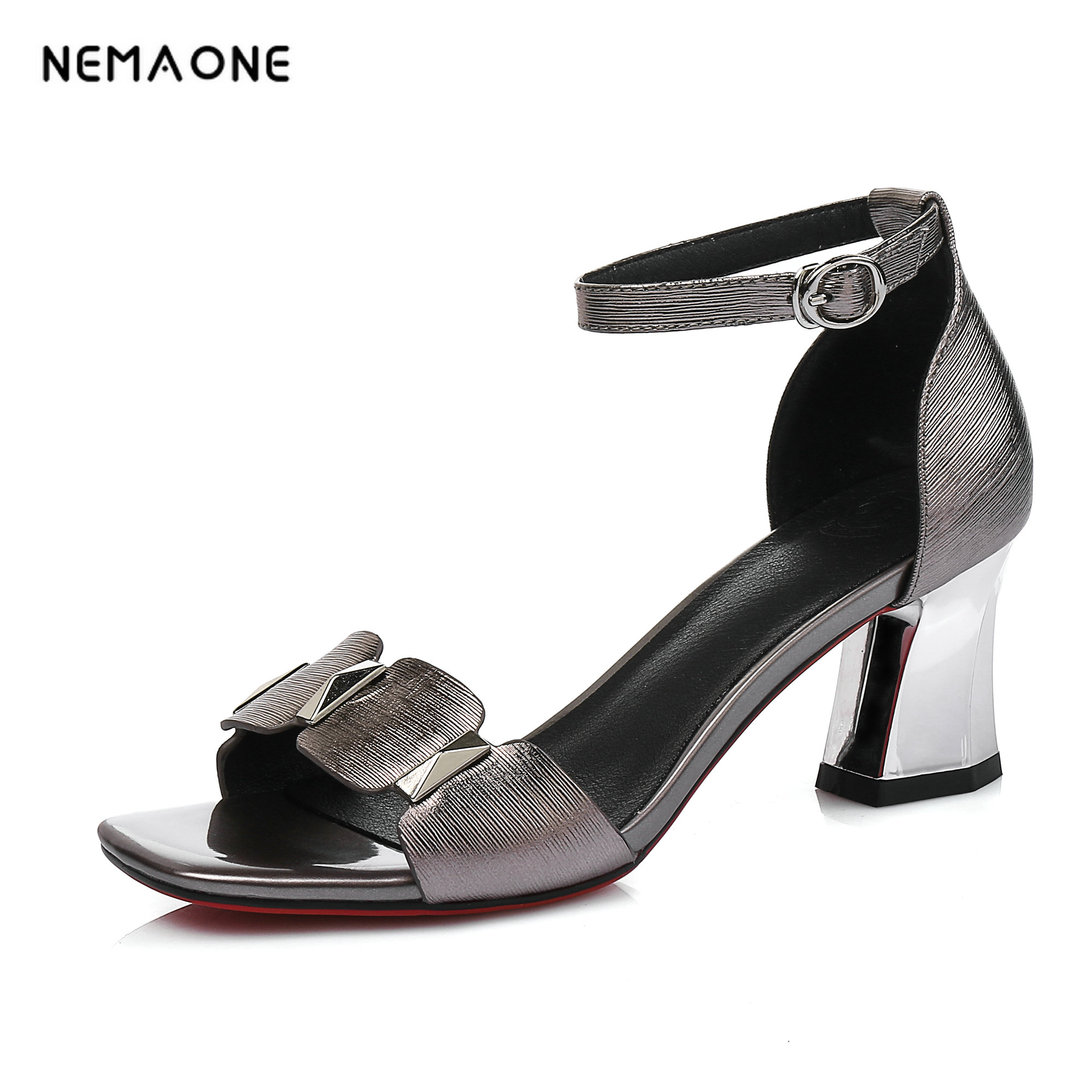 NEMAONE Women square heel sandals Rivets high heels sandals shoes Casual leather platform shoes