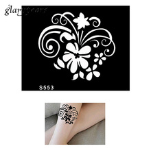 1 Piece Small Indian Henna Tattoo Stencil Health Black Petals Flower Style Women Body Art Henna Tattoo Stencil Sexy Product S553