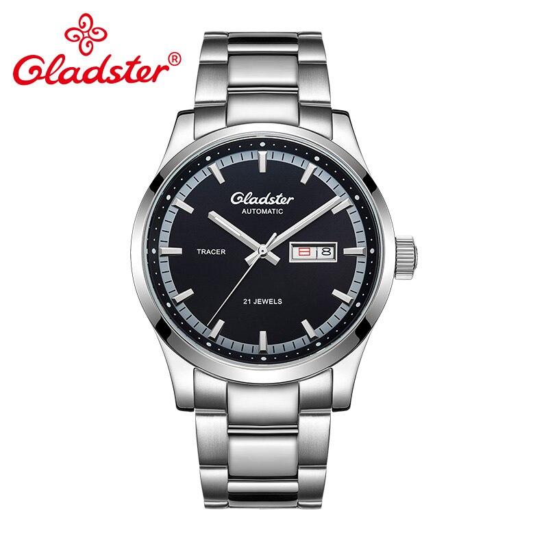 Gladster Luxus Japan MIYOTA Exquisite Automatische Mechanische Männer Uhr Edelstahl Männlichen Armbanduhr Kalender Wasserdichte Uhren