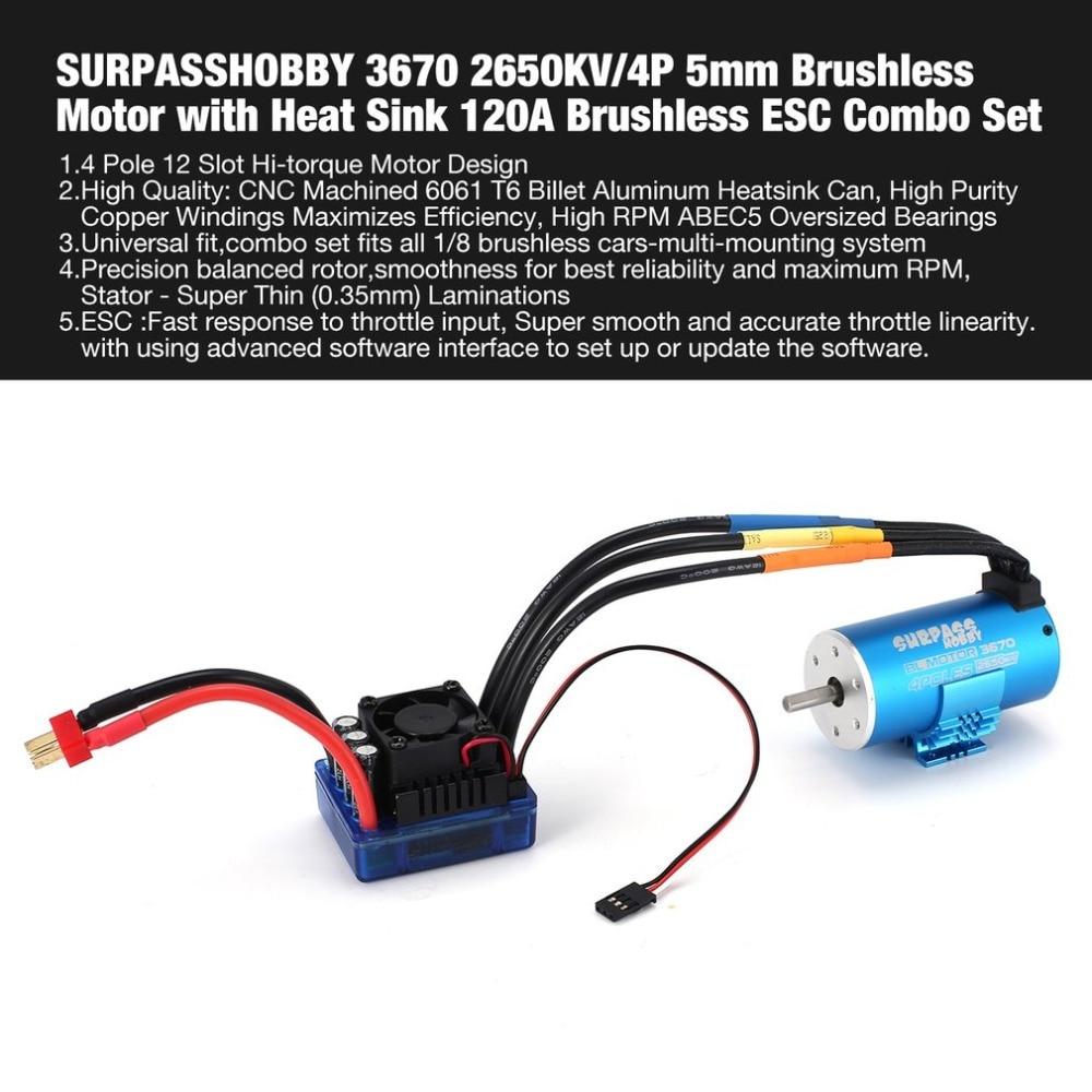 SURPASSHOBBY 3670 2650KV/4P 5mm Brushless Motor with Heat Sink 120A Brushless ESC Combo Set for 1/8 RC Car Spar Part fz цена