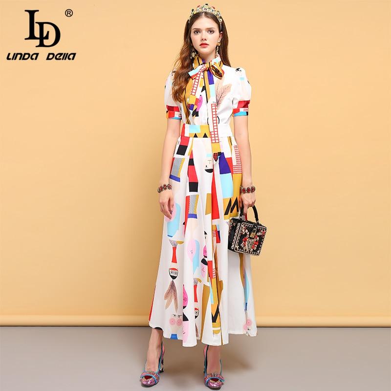 LD ليندا ديلا الأزياء مصمم فستان صيفي المرأة ربطة القوس فيونكة قمم + الأحرف المطبوعة أنيقة عارضة طويلة السراويل قطعتين مجموعة-في مجموعات نسائية من ملابس نسائية على  مجموعة 1