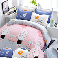 coxeer 4Pcs Bed Cover Set Soft Cotton Deer Rabbit Printed Comforter Bedding Set Bed Sheet Pillowcase Duvet Cover For 1.8/2.0m