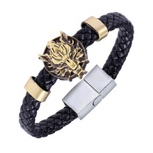 2017 New Anime Game Final Fantasy Wolf Symbol Leather Bracelet Wristband For Men Wholesale Weave Leather Charm Bracelet & Bangle