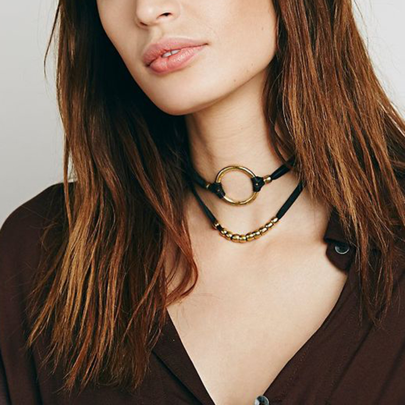 Gold Round Circle Pendant Velvet Choker Necklace Small Gold Beads Double Layer Chains Necklaces Female Gothic Jewelry #92593
